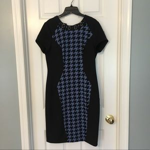 Houndstooth jeweled neck dress